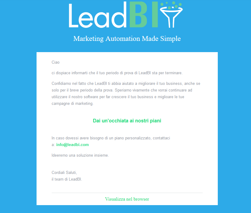 Email di notifica scadenza trial marketing automation