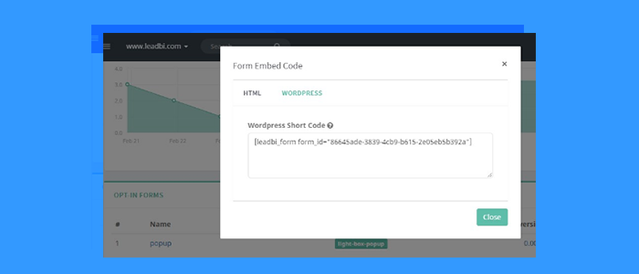 Nuova integrazione: WordPress form Shortcode