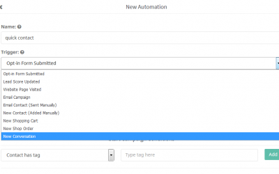 New: Automation Quick Contact